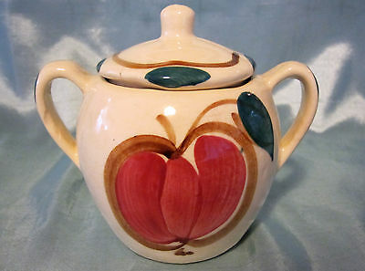 Vintage Purinton Pottery Fruit Sugar Bowl With Lid - Apple and Pear Design