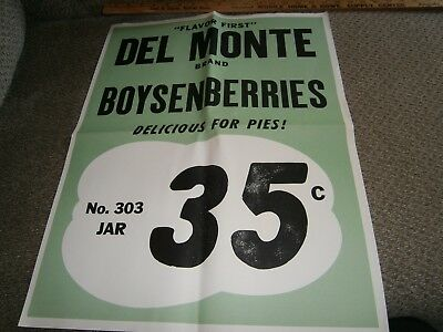 Vintage Grocery Store Window Ad 17 X 21 Del Monte Boysenberries 35 Cents Rare
