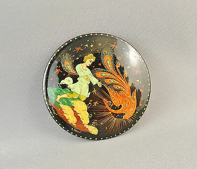 Vintage Russian Lacquer Hand Painted Signed Brooch Man And Phoenix Bird