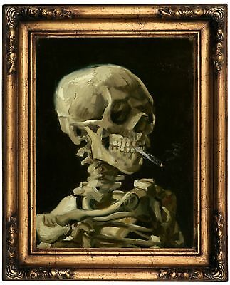 van Gogh Head of a skeleton with cigarette Wood Framed Canvas Print Repro 12x16
