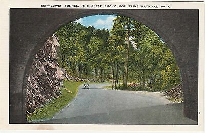 Lower Tunnel Great Smoky Mountains National Park Vintage Postcard Linen