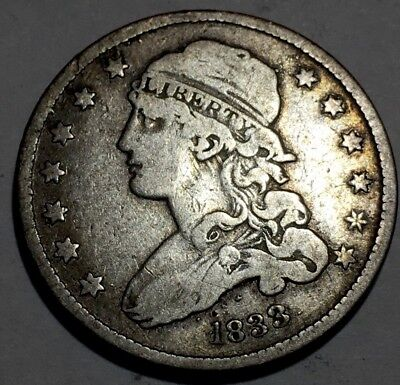 1833 CAPPED BUST QUARTER - 0NLY 156,000 Minted - Great Detail - **Very Scarce**