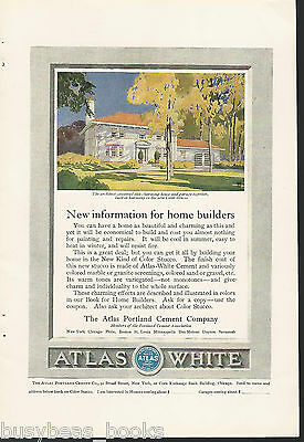 1917 ATLAS PORTLAND CEMENT advertisement, Color Stucco, color artwork