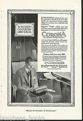 1917 CORONA typewriter advertisement, Corona portable, on railroad train