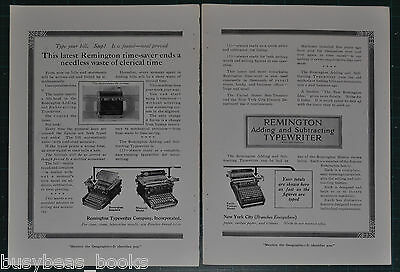 1914 REMINGTON TYPEWITER 2-page advertisement, Adding & Subtracting typewriters