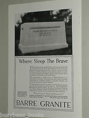 1918 Barre Granite advertisement, Major O. J. Smith tombstone, cemetery