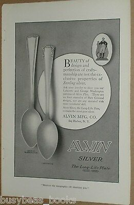 1915 ALVIN SILVER advertisement, silver plated spoons, Geo Washington, Lafayette