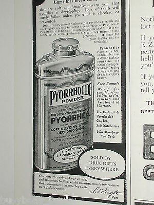 1920 Pyorrhocide Powder advertisement, tooth powder tin
