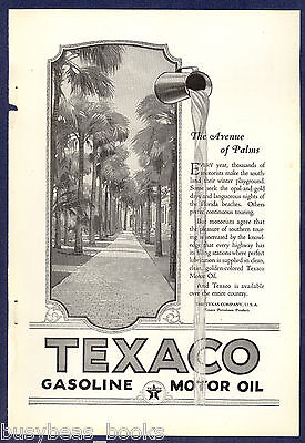 1924 TEXACO advertisement, Texaco motor oil, Palm tree lined road, Florida