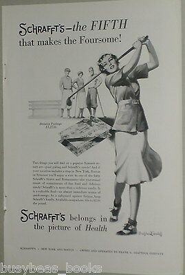 1931 Schrafft's Candy advertisement page, Lady Golfing, Bradshaw Crandell artist
