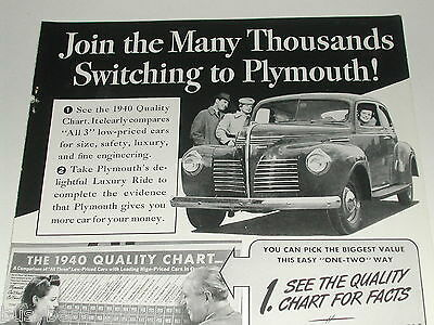 1940 Plymouth advertisement, steel body coupe, quality chart