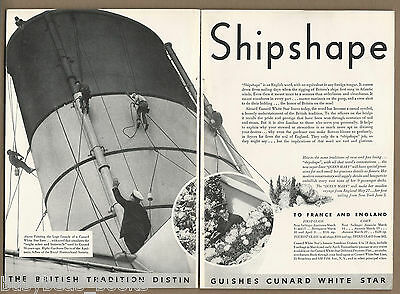 1936 CUNARD WHITE STAR LINES 2-page advertisement, Shipshape, Funnel photo