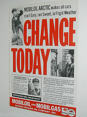 1937 MOBIL OIL advertisement, engine oil, Socony-Vacuum oil Co. Mobiloil Arctic