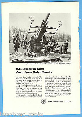 1945 BELL Telephone advertisement, Anti-Aircraft Gun Director WWII buzz bombs
