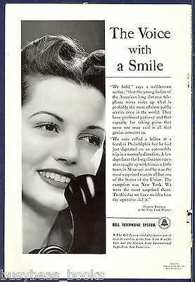 1940 BELL TELEPHONE advertisement, Female Operator photo, Damon Runyon quote