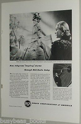 1946 RCA advertisement, Radio Corp. of America, early Microwave Relay tower