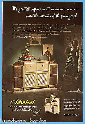 1947 ADMIRAL advertisement, Admiral Radio Record Player combo