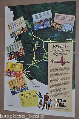 1947 Western Air Lines advertisement page, Western USA map, Douglas DC6