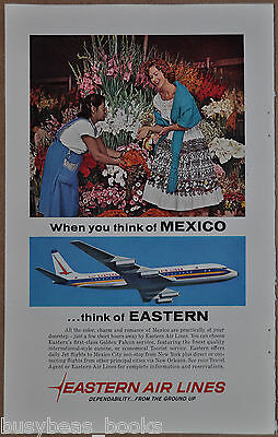 1961 EASTERN AIR LINES advertisement, Mexico, DC-8 airplane, red-head tourist