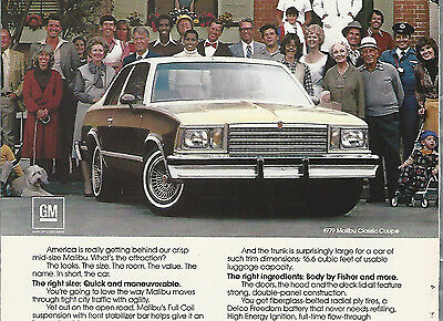 1979 CHEVROLET MALIBU advertisement, CHEVY Malibu ad, Classic Coupe