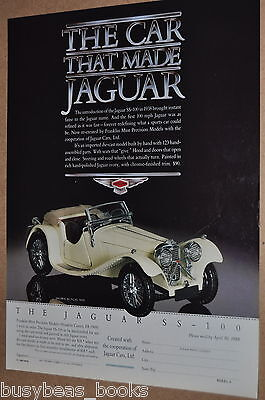 1988 Franklin Mint advertisement for the 1938 JAGUAR SS-100 model