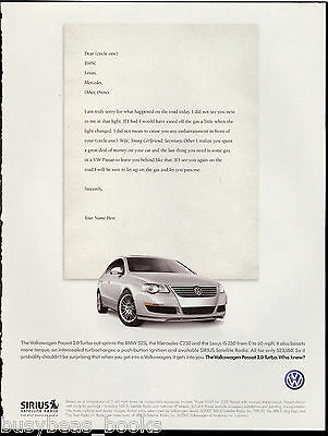 2007 VOLKSWAGEN PASSAT Turbo advertisement, VW Passat 2.0 Turbo