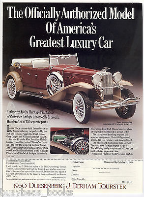 1989 Franklin Mint advertisement for 1930 DUESENBERG model
