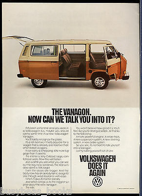 1981 VOLKSWAGEN VANAGON advertisement, VW van