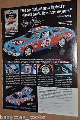 1992 Franklin Mint advertisement for Richard Petty NASCAR 43 1977 Oldsmobile