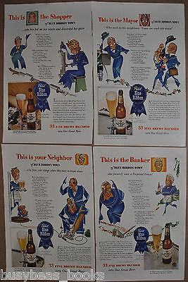 1943 Pabst Beer advertisement x4, PABST Blue Ribbon Beer, Blue Ribbon Town