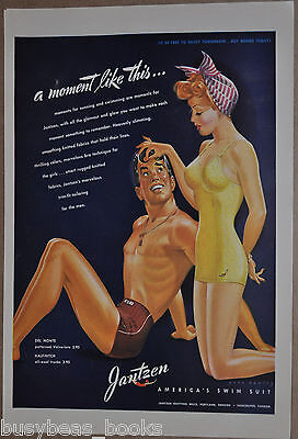 1943 Jantzen advertisement, JANTZEN Swim Suits, sexy red-head, Pete Hawley art