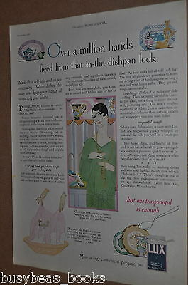 1926 Lux Soap advertisement, Art Deco, flappers clothes, dishes, Lever Brothers