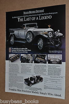 1992 Franklin Mint advertisement for 1925 Rolls Royce Silver Ghost model