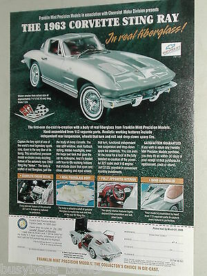 1999 Franklin Mint ad for the 1963 Corvette Sting Ray