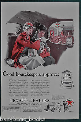 1939 TEXACO advertisement, Texaco Service Station Restrooms, old housekeepers