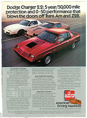 1982 DODGE CHARGER advertisement, Dodge Charger 2.2, with Trans Am & Z28