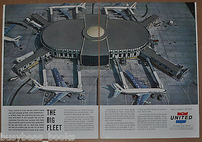1962 UNITED AIRLINES 2-page advertisement, Los Angeles Terminal model