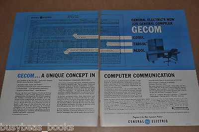 1961 GECOM Compiler 2-page advertisement, General Electric, Cobol, Algol, Tasbol
