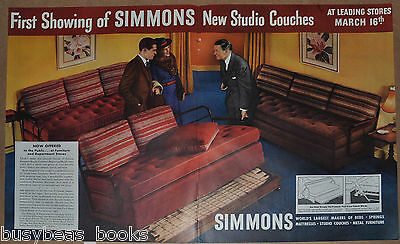 1937 SIMMONS 2-page advertisement, Simmons Studio Couches, hide-a-bed