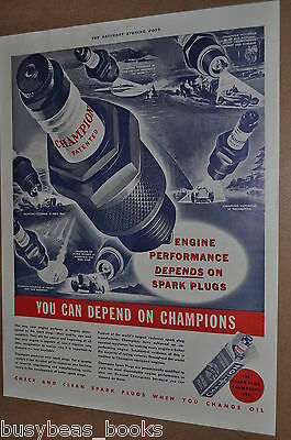 1937 Champion Spark Plug advertising page, racing cars, boats