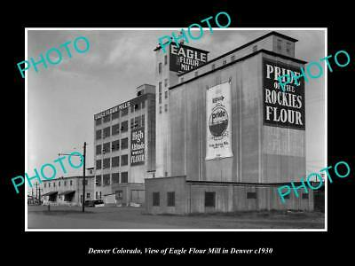 OLD LARGE HISTORIC PHOTO OF DENVER COLORADO, THE EAGLE FLOUR MILL c1930