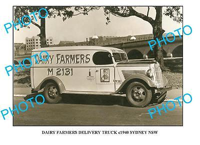 OLD LARGE PHOTO DAIRY FARMERS MILK TRUCK c1940 NSW