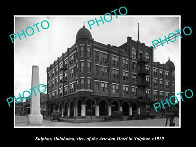 OLD LARGE HISTORIC PHOTO OF SULPHUR OKLAHOMA, VIEW OF THE ARTESIAN HOTEL c1920