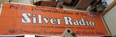 Vintage 1920's Silver Radio Banner New Old Stock