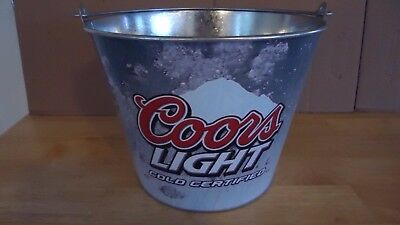 """Coors Light Metal Beer Ice Bucket Cooler """"mountain Turns Blue When Cold"""""""