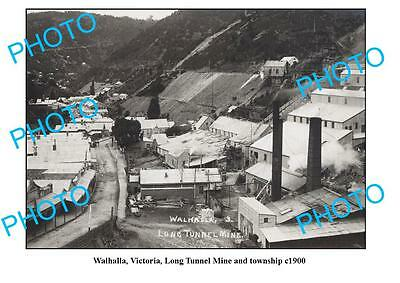 OLD LARGE PHOTO, WALHALLA VICTORIA, LONG TUNNEL MINE & TOWNSHIP c1900