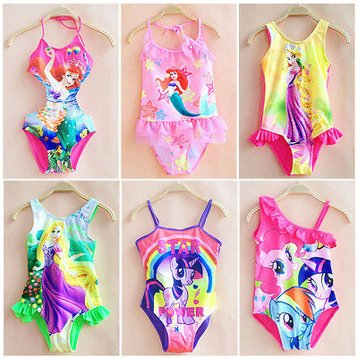 Girls Kids One-Piece Swimwear Bikini Bathing Swimsuit Swimming Monokini 2-10Y AU