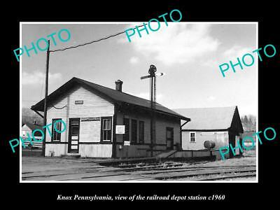 OLD LARGE HISTORIC PHOTO OF KNOX PENNSYLVANIA, THE RAILROAD STATION c1960