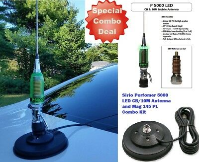 Sirio Performer 5000 LED CB Mobile Antenna with Mag 145 PL Mag Mount Combo!