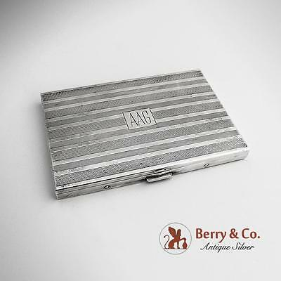 Art Deco Engine Turned Cigarette Case Sterling Silver Volupte 1940